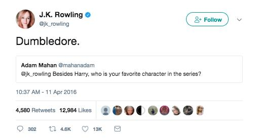 Silente è il personaggio preferito di J. K. Rowling