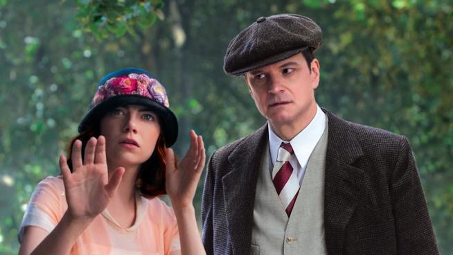 Colin Firth con Emma Stone in Magic in the Moonlight