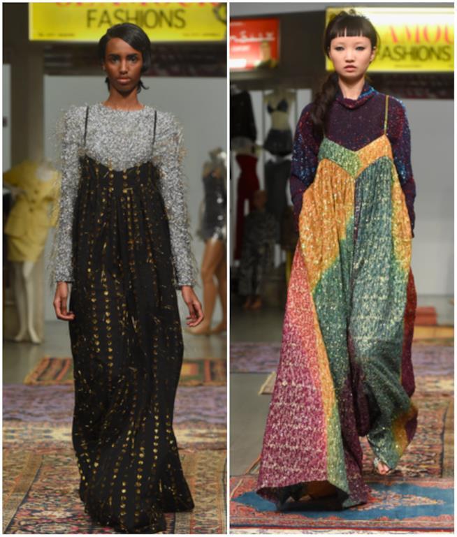 Collage tra abiti e maglieria per Ashish