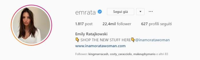 Profilo intagram Emily Ratajkowski