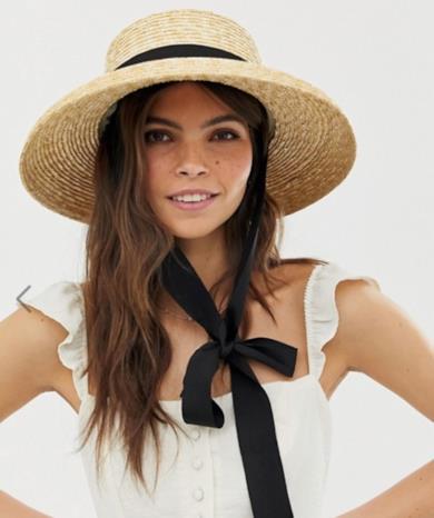 Cappello di paglia naturale con bordo girato e allacciatura intercambiabile