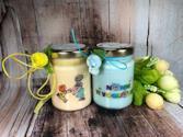 2 vasetti con candele di cera di soia e oli essenziali