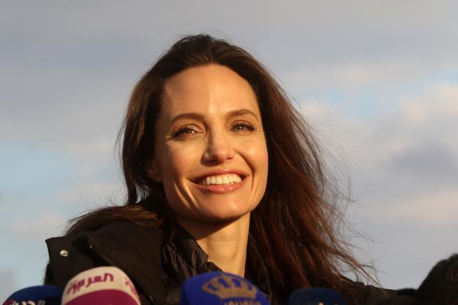 Uno splendido primo piano di Angelina Jolie in Giordania