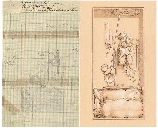 Disegni che rappresentano una tomba vichinga