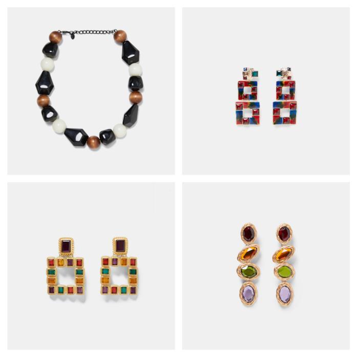 Orecchini e collana multicolore di moda per l'autunno 2018