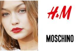 Collage tra Gigi Hadid, H&M e Moschino