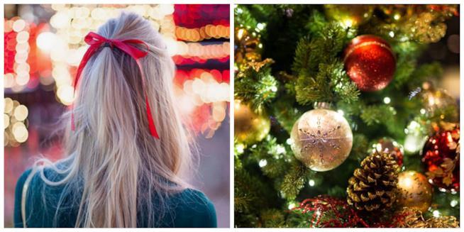 Collage tra capelli con fiocco e albero di Natale