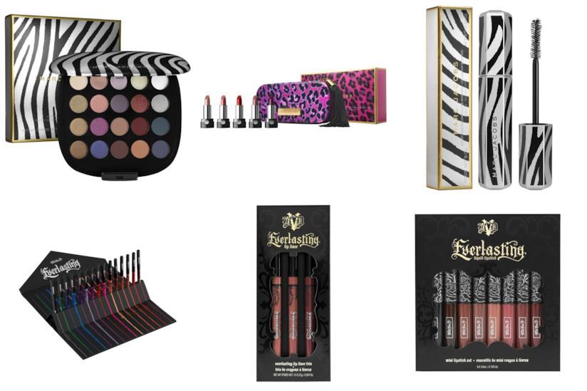 confezioni di prodotti per make-up natalizie di  Marc Jacobs e Kat Von D