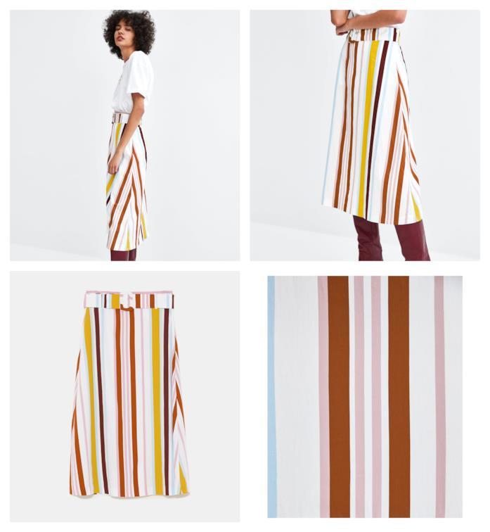 A righi, la gonna di Zara per l'estate 2018