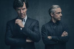Sherlock e Watson in una foto promozionale della quarta stagione