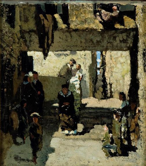 Telemaco Signorini (1835-1901) Il quartiere degli israeliti a Venezia (bozzetto), 1856 Olio su tela, cm 29 x 26