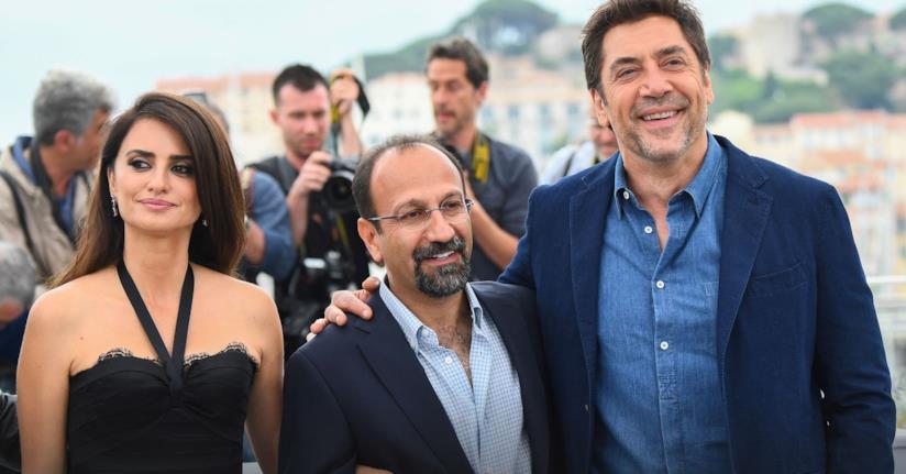 Penelope Cruz e Javier Baderm a Cannes 2018 col regista Ashgar Farhadi