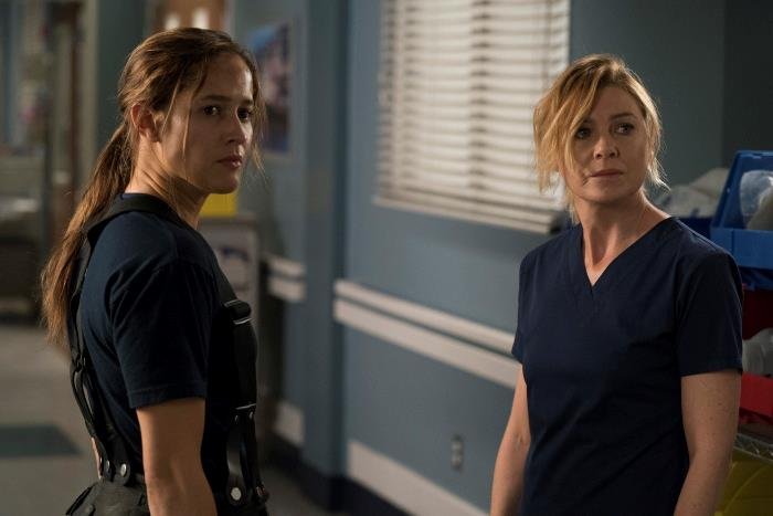 Una scena di Grey's Anatomy 14x13 con Andy e Meredith