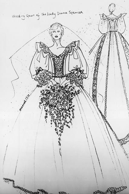 Il disegno originale del vestito da sposa di Diana