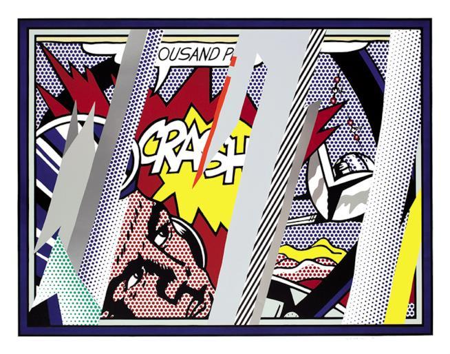 Roy Lichtenstein, Reflections on Crash, 1990 Litografia, serigrafia, rilievo and collage in PVC metallizzato con goffratura su carta Somerset fatta a mano. 150.2 x 190.5 cm Collection Lex Harding © Estate of Roy Lichtenstein