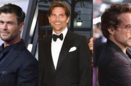 Tre foto degli attori Marvel Chris Hemsworth, Bradley Cooper e Robert Downey Jr