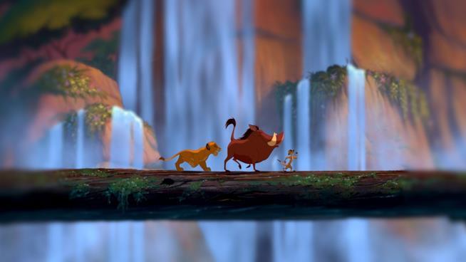 Simba, Pumba e Timon in una scena de Il Re Leone