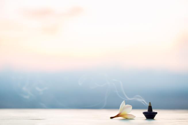 Incenso con un fiore su un tavolo