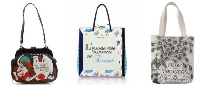 Tre borse con citazioni letterarie