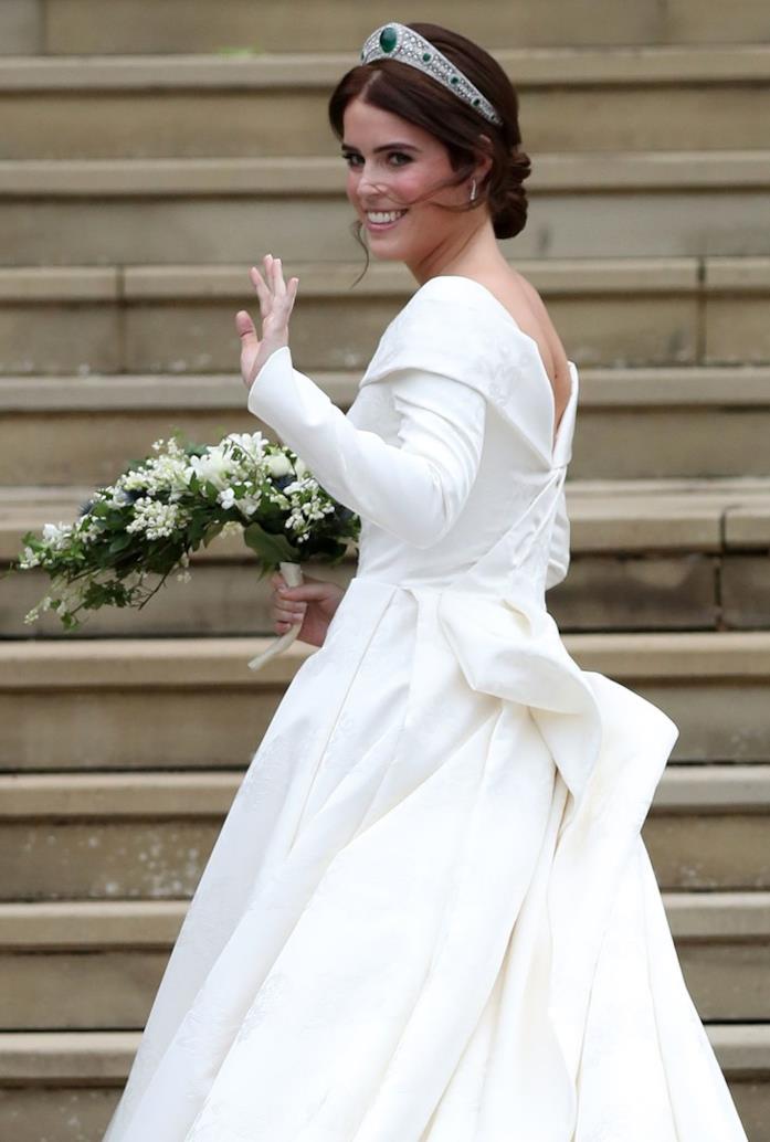 Il retro dell'abito da sposa di Eugenia di York