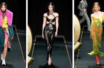 Color block, nero e vintage per Versace