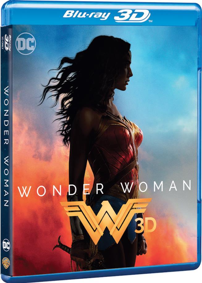Wonder Woman di profilo su uno sfondo rosso e blu per il cofanetto