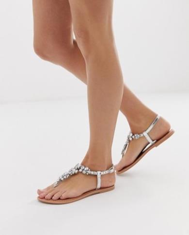Sandali bassi in pelle decorati