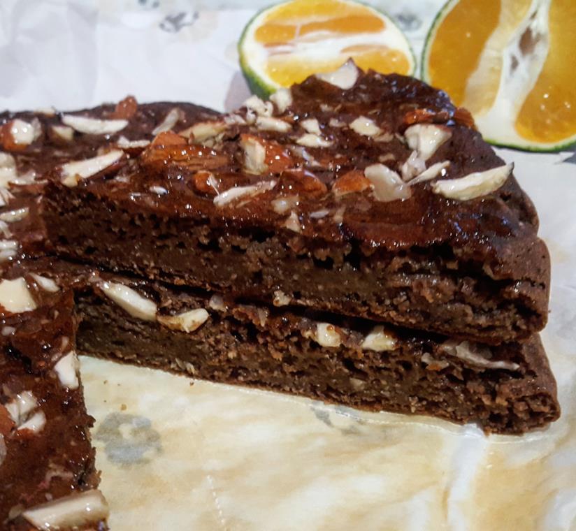 Sezione torta al cacao