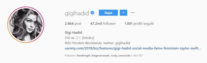 Profilo Instagram di Gigi Hadid