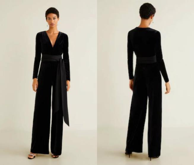 Tuta lunga in velluto nero moda autunno 2018