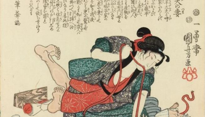 Antica stampa giapponese Shibari