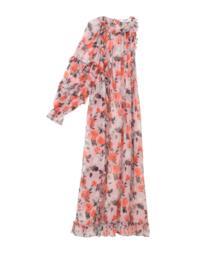 Vestito Cerimonia monospalla rosa con fantasia