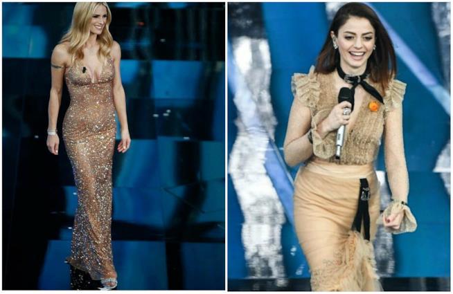 Michelle Hunziker e Annalisa a Sanremo, abiti nude e brillanti