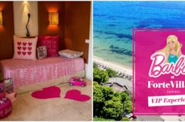 Collage camera Barbie e Logo Barbie forte Village