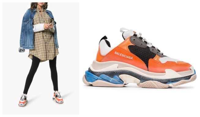 Arancione, le sneakers Triple S Balenciaga di moda per l'autunno 2018