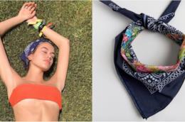 Collage tra Kaia Gerber e la bandana blu