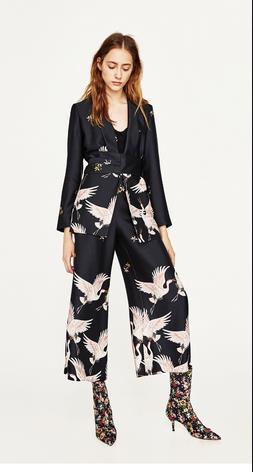Pantaloni e giacca di Zara con i fenicotteri