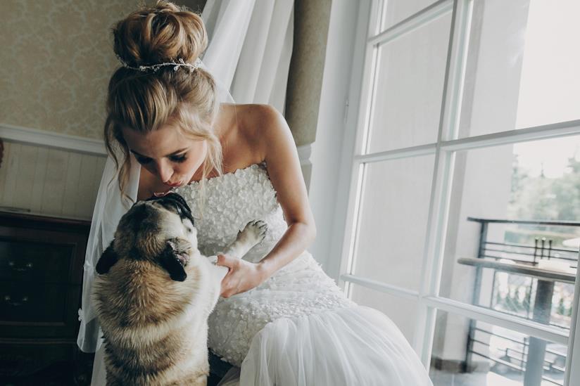 Sposa si sporge a baciare il suo cane