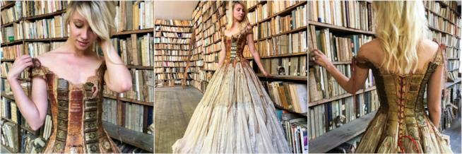 Il vestito cucito con i dorsi dei libri