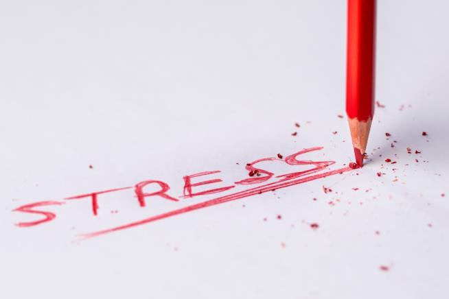 "Una scritta a matita che recita la parola ""stress"""