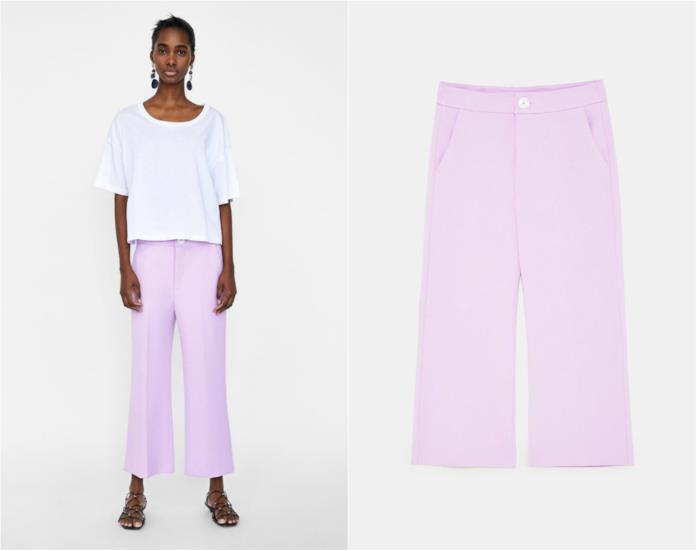 Pantaloni lilla palazzo Zara