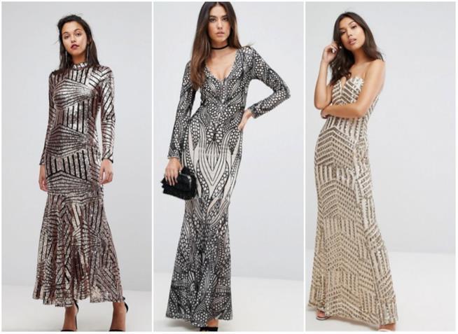 Collage di abiti con lustrini