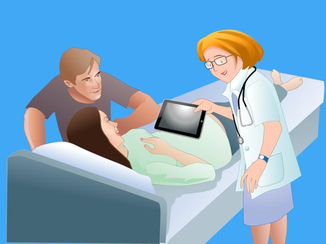 Vignetta con donna in gravidanza