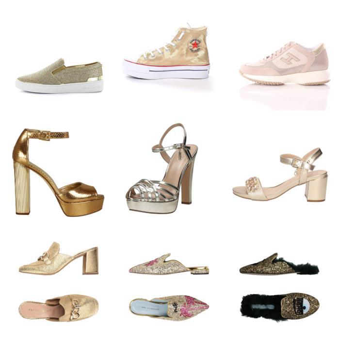 Le scarpe dorate di moda per l'estate 2018