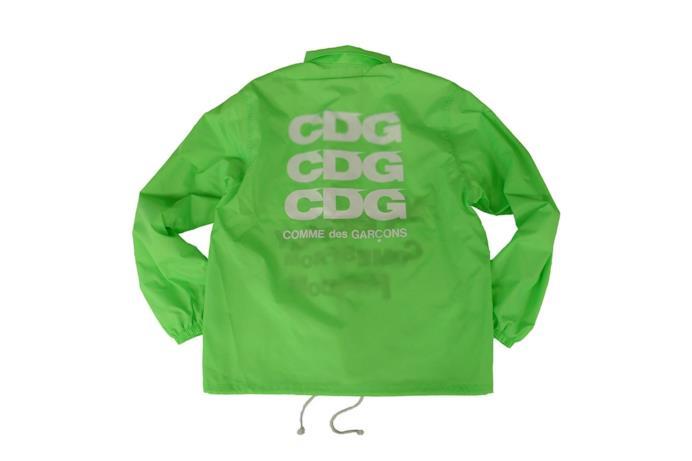 Parka verde fluo con logo CDG