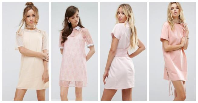 Abiti t-shirt rosa di moda per l'estate 2018