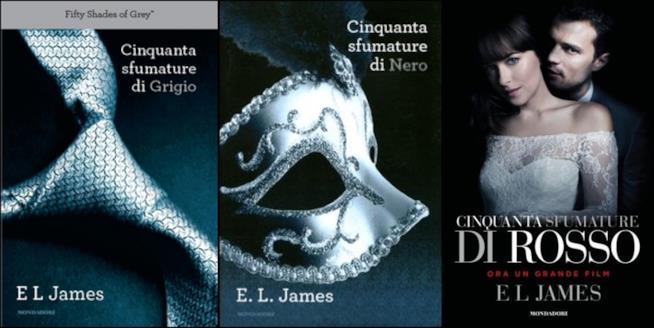 i tre romanzi cinquanta sfumature di grigio, di nero e di rosso
