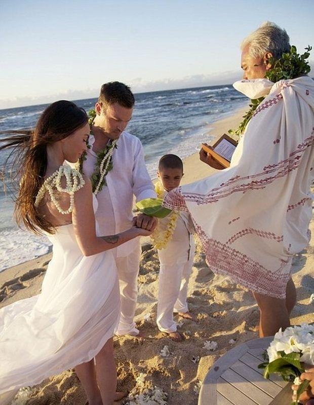 Un momento delle nozze tra Meghan Fox e Brian Austin Green