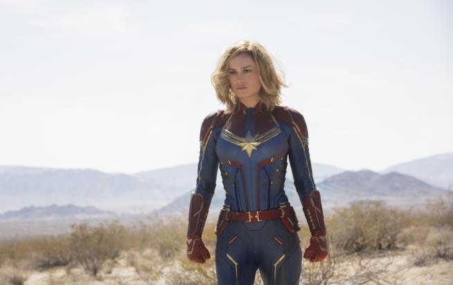 Brie Larson in una scena di Captain Marvel
