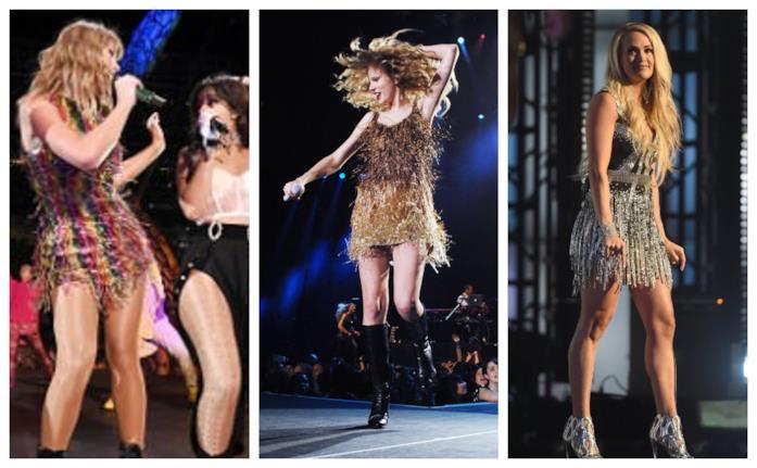 Taylor Swift e Carrie Underwood sfoggiano mini dress con le frange